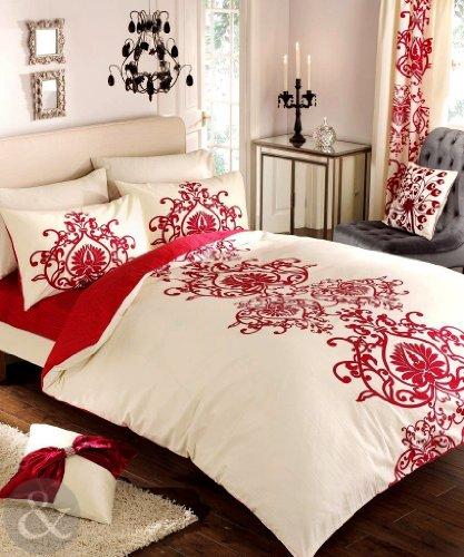 Luxury Damask Biancheria da letto - Poly Cotone Blend Copri trapunta Copripiumino Doppio Biancheria da letto Rosso E Avorio Crema ( Bianco )