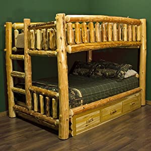 Amazon Com Cedar Lake Full Over Queen Log Bunk Bed