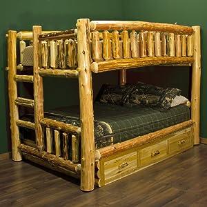 cedar lake full over queen log bunk bed rustic queen bed frame. Black Bedroom Furniture Sets. Home Design Ideas