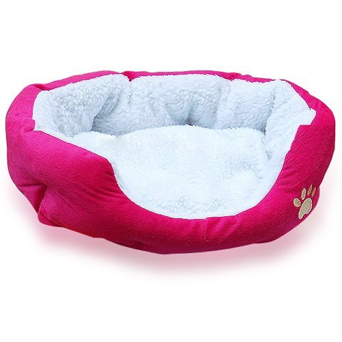 Leegoal Cute Paw Print Comfortable Pets Dog Cats Puppy Kitten Nest Pad Soft Fleece Bedo (M,Roseo)