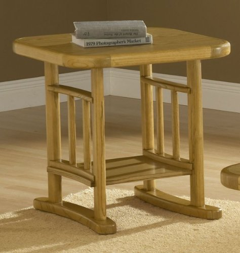 Hillsdale Covington Square Wood Top End Table in Light Oak