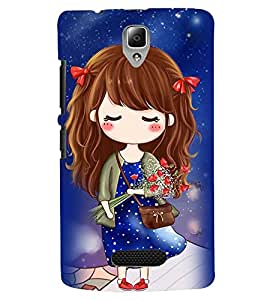 Printvisa Premium Back Cover Cute Girl In A Blue Polka Dot Dress Design For Lenovo A2010