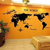 Educational Games Wall Stickers World Map Black Wall Decals Art 37.4