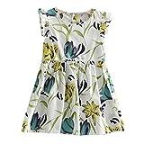 Winer 夏カワイイ子供ワンピース 女の子ユリの花ドレス 飛んでスリーブ (120, ブルー) ランキングお取り寄せ