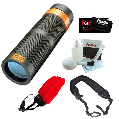 Bushnell 180932C Bear Grylls 9X32Mm Monocular + Floating Foam Strap Red + Cleaning And Care Kit + Micro Fiber Cleaning Cloth