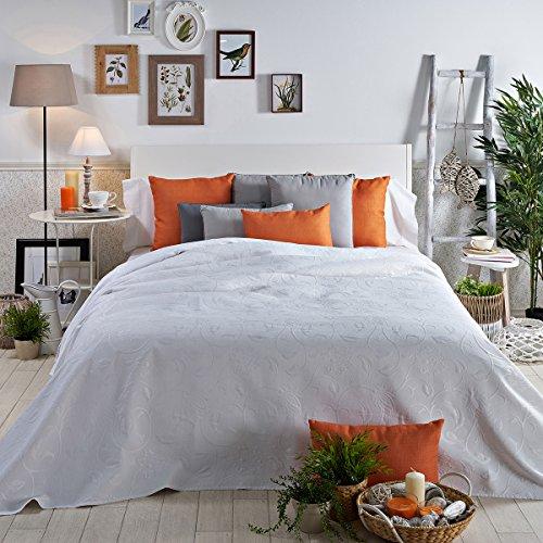 Sancarlos - Colcha piqué decorativa barbara blanco - esquinas redondeadas - con dibujo ornamental - varias tallas disponibles