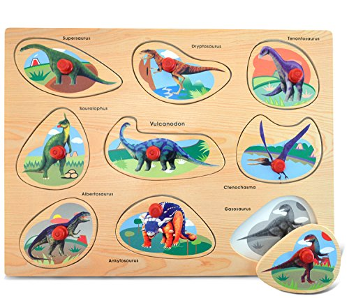 Puzzled Dinosaurs Wooden Toys Peg Puzzle (9 Piece), Large - 1