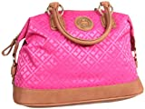 Tommy Hilfiger TH Logo Signature Bowler Satchel,Checkerboard Pink/Bleached Red,One Size