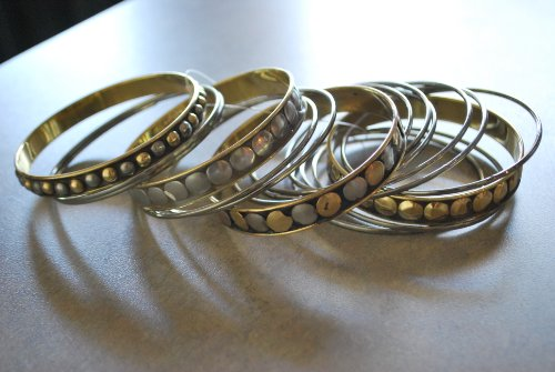 Designer Insprired 16pc Bangle Bracelet, Hematite & Gold with Black Accents