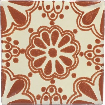 Mexican Talavera Ceramic Tile - 4x4 Terra Cotta Lace