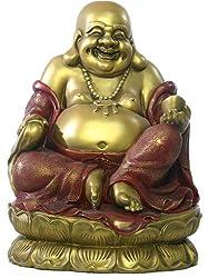 Seated Happy Buddha Hotei on Lotus Base Sculpture, Extra Large
