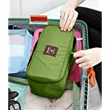 Multi-Functional Travel Organizer Cosmetic Make-up Bag Portable Luggage Storage Case Bra Underwear Pouch (Green)