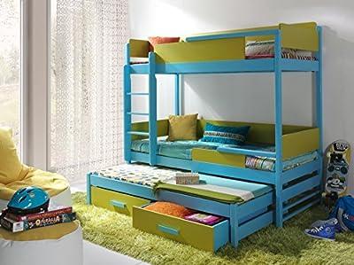 QUATRO Children Triple Bunk Bed - Pine Wood - 22 Colours - 2 Sizes - 4 Types of Mattresses