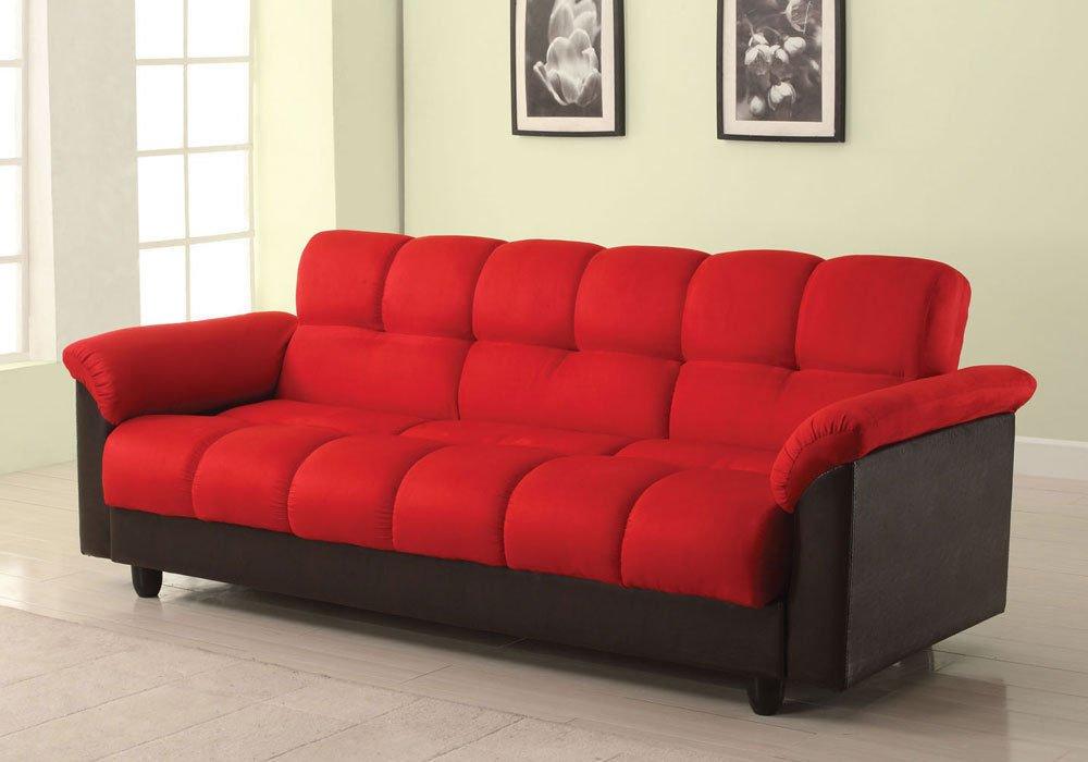 1PerfectChoice Achava Living Room Adjustable Sofa Bed Sleeper Storage Futon Red Microfiber & PU