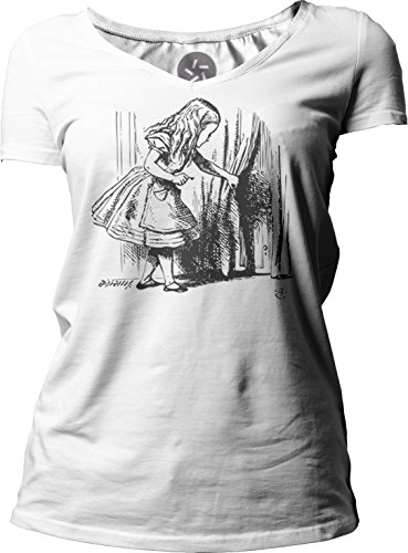 Big Texas Alice in Wonderland - Looking for The Door (Black) Women's Short-Sleeve V-Neck T-Shirt