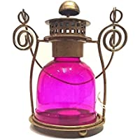 Antique Lantern Glass Pink Tea Light Candle Holder