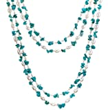 "HinsonGayle ""Maria"" Handcrafted 2-Strand Turquoise and Cultured Pearl Rope Necklace and Earrings Set (Sterling Silver) (Artisan Collection, 40"")"
