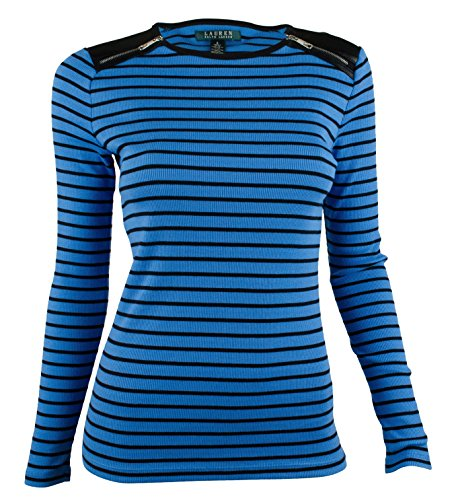 Ralph Lauren Women'S Petite Striped Zip-Shoulder Blouse Top-Bb-Pxs