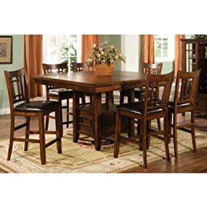 Eureka Counter Height Square Dining Table with Storage in Distressed Dark Pecan