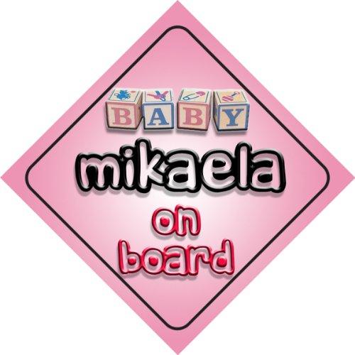 Mikaela on board baby Girl auto a forma di cartello regalo per bambini e neonati
