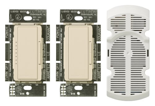 Lutron Ma-Fq3-La 300-Watt Maestro Dimmer And Fan Control Multi-Location Kit, Light Almond
