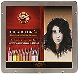 Polycolor 24er Hautfarben Farbstifte Zeichenstifte für Künstler von KOH-I-NOOR in Metall-Geschenkbox - exclusiv farbig sortiert für Portraitmalerei