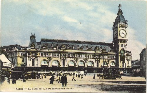 1910 Vintage Postcard Paris Gare de Lyon Train