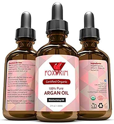 BEST ORGANIC Argan Oil FOR Hair, Face, Skin and Nails - 100% Pure ECOCERT & USDA Certified Organic Argan Oil