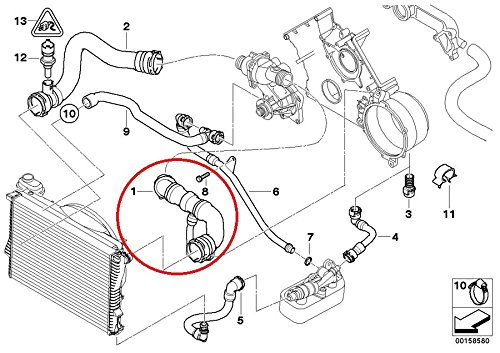 Bmw Genuine Radiator Hose Radiator To Water Pump For