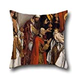 Pillowcover Of Oil Painting Fernando Gallego - Epiphany 16 X 16 Inches / 40 By 40 Cm,best Fit For Christmas,indoor,monther,kids Boys,bar,office Two Sides