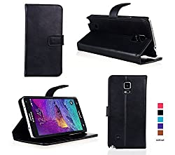 Bear Motion for Note 4 - Premium Folio Wallet Case Cover with Hard PC Inner Case with Snap Button Closure (NO Magnet in the Case) for Galaxy Note 4 - Black
