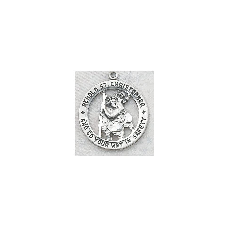 Mens Sterling Silver Round Saint Christopher Patron Saint Medal Pendant