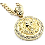 Mens 14k Gold Plated 30″ Cuban Chain Lion Face Black Eyes Pendant Necklace