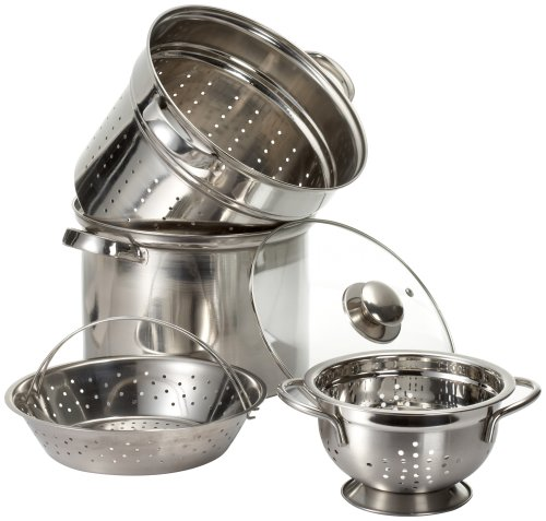 Prime Pacific Pasta Cooker and Steamer set with Glass Lid and Bonus 1.5 Quart Euro Colander