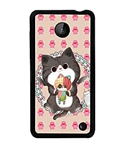 PRINTVISA Kitty Premium Metallic Insert Back Case Cover for Nokia Lumia 630 - D5928