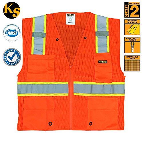 KwikSafety Class 2 High Visibility Ultra Cool Mesh Surveyor Safety Vest with Reflective Strips & Pockets, Construction, Motorcycle, Bike Safety, Public Safety, Security Guard Safety Equipment, Meets ANSI/SEA 107-2010 Class 2 Level 2, Orange, Size 4XL/5XL