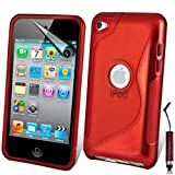 AOA CasesTM Apple Ipod Touch 4 4g 4th Generation S-Line Series Wave Hydro Gel Silicone Case Cover Skin Includes Screen Protector And Mini Stylus (iPod Touch 4 4th 4G, Red)
