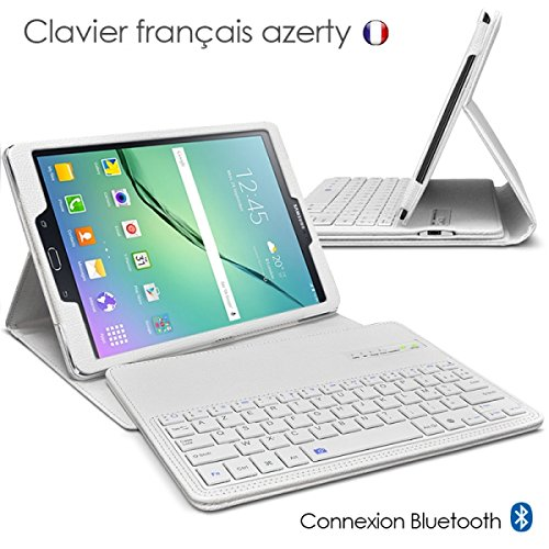 Seluxion - Housse Etui de Protection Blanc avec Clavier détachable Français Azerty Intégré Connexion Bluetooth pour Tablette Samsung Galaxy Tab S2 8.0 T710