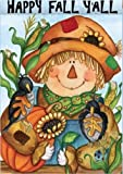 Happy Fall Y-all Scarecrow - Fall and Thanksgiving Welcome - 28 Inch X 40 Inch Large Decorative Flag