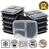 Paksh Novelty Lunch Box Sets / Large Food Container with Lid / 3 Compartment Bento Box, Microwaveable, Freezer & Dishwasher Safe, Leak Proof, 10 Pack