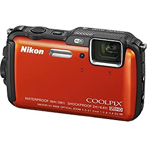Nikon COOLPIX AW120 16.1 MP Wi-Fi and Waterproof Digital Camera with GPS and Full HD 1080p Video (Orange) (Certified Refurbished)