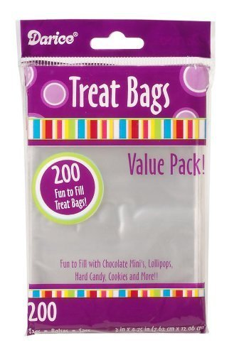 Darice 28-001V 3-Inch-by- 4-3/4-Inch Clear Treat Bag 200-Pieces (2)
