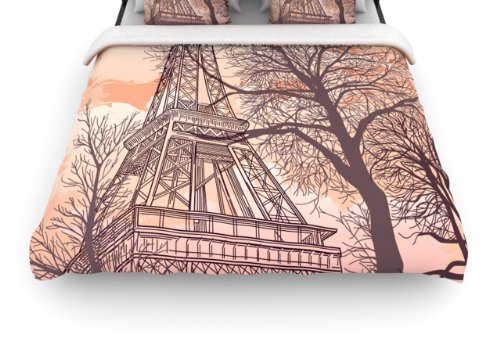 "Kess Inhouse Sam Posnick ""Eiffel Tower"" 88 By 104-Inch Woven Duvet Cover, King front-1014295"