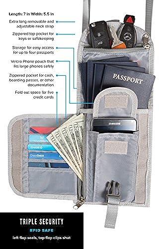 06. Killiano RFID Blocking Travel Document Organizer Neck Wallet Passport Holder