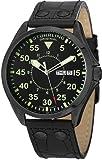 Stuhrling Original Men's 479.33551 Classic Traveler Trackmaster II Swiss Quartz Day and Date Black Leather Strap Watch