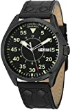 Stuhrling Original Mens 479.33551 Classic Traveler Trackmaster II Swiss Quartz Day and Date Black Leather Strap Watch