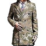 Mokewen Men's Camouflage Double-Breasted Long Jacket