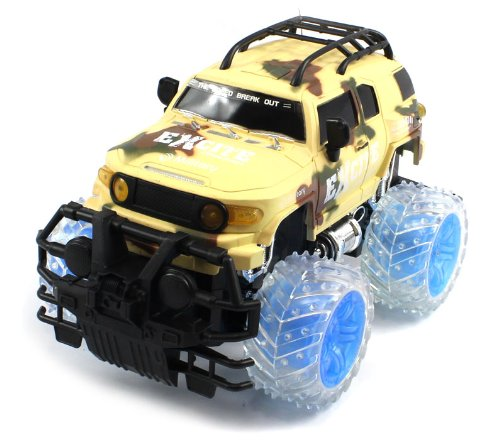BIG SIZE RECHARGEABLE Electric 1:16 Military Armor Toyota FJ Cruiser RTR RC Truck w/ Light Up Wheels (COLORS MAY VARY) Remote Control Monster Truck!