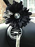 Yankee Candle Scented Car Vase and Flower with Vase Stones - Black Gemmed Gerbera and butterfly