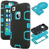 ULAK - Cover per iPhone 4S Case - Custodia ibrida a protezione integrale con parte esterna in 3 strati di morbido silicone e interno rigido per iPhone 4/4S - (blu + nero)